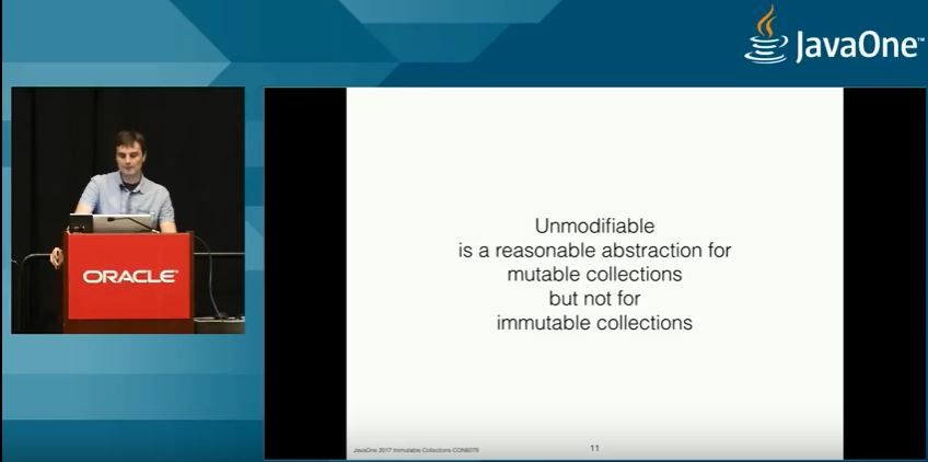 Unmodifiable is a reasonable abstraction for mutable collections but not for immutable collections